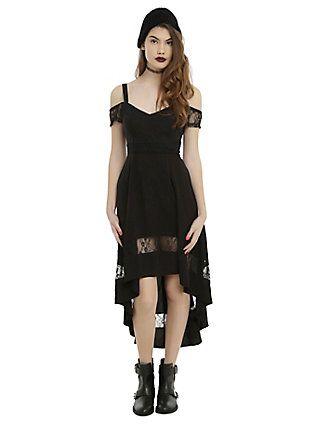 Royal Bones By Tripp Black Cold Shoulder Hi-Low Dress, BLACK