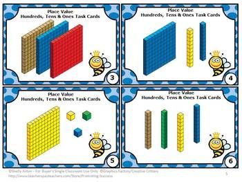 FREE!! Math Printable Activities -- Place Value: Hundreds, Tens and Ones - Here are six task cards to help your students practice place value. There is a student response form and answer key as well. Students love task cards because they allow movement in the classroom. Brain research shows that movement increases achievement. It's a WIN-WIN for teachers and students! Yay!