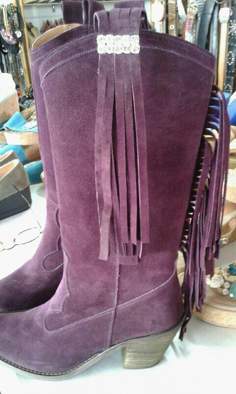 Real suede boots cowboy style fringe beside & behind