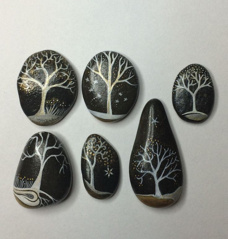 Galets peints - lot de 6 arbres by Coeur de pierre