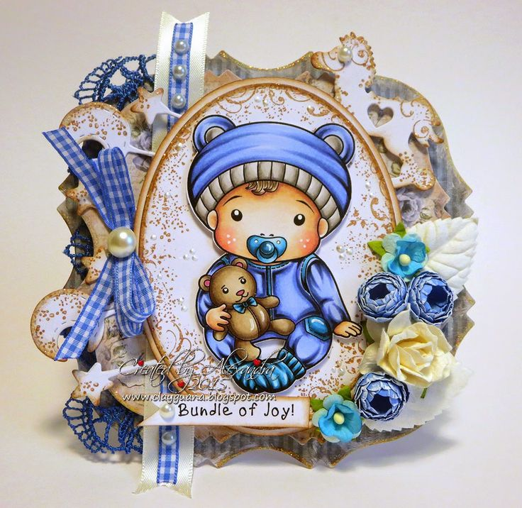 From our Design Team! Card by Alexandra Morein featuring Baby Luka and these Dies - Moon and Stars Banner, Rocking Horse, Stitched Elements (Oval) :-)  Shop for our products here - shop.lalalandcrafts.com   Coloring details and more Design Team inspiration here - http://lalalandcrafts.blogspot.ie/2015/03/inspiration-friday-something-new.html