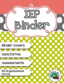 """This IEP Binder Set Includes:Binder Cover Pages: """"Data Forms"""", """"Goals & Benchmarks"""", """"Communication"""", """"Assessments"""", and """"Student Work Samples"""". (with and without clip art)Assessments: Alphabet, numbers (1-30), Letter Sounds, Calendar, Shapes, Social Behavioral, and Dolch Pre Primer and Primer words."""
