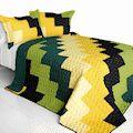 Black Green Yellow Block Teen Boy Bedding Full/Queen Quilt Set Geometric Patchwork