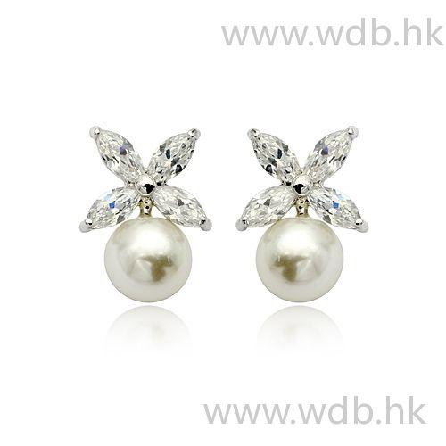 Nice Silver Ball Earrings With Rhinestone Rhinestone, Alloy, Ball Earrings…