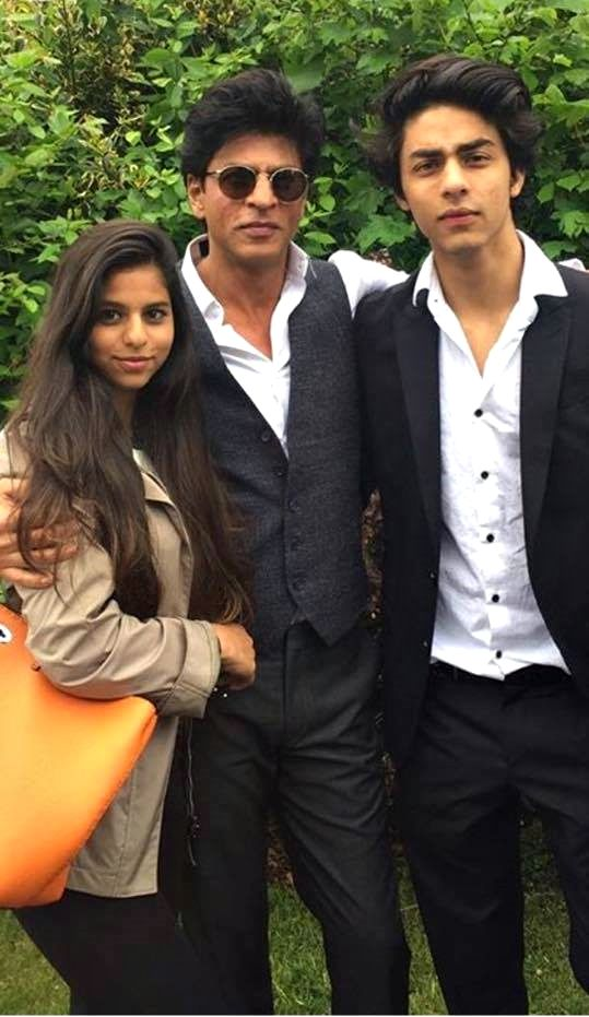 SRK with son and daughter