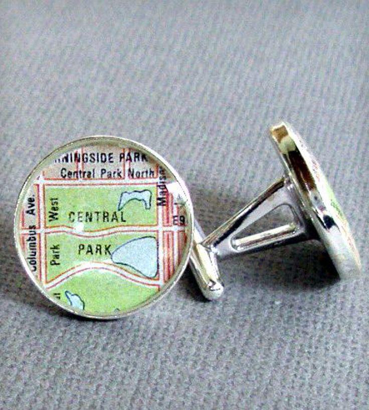 Sterling Silver Custom Map Cufflinks | Men's Accessories