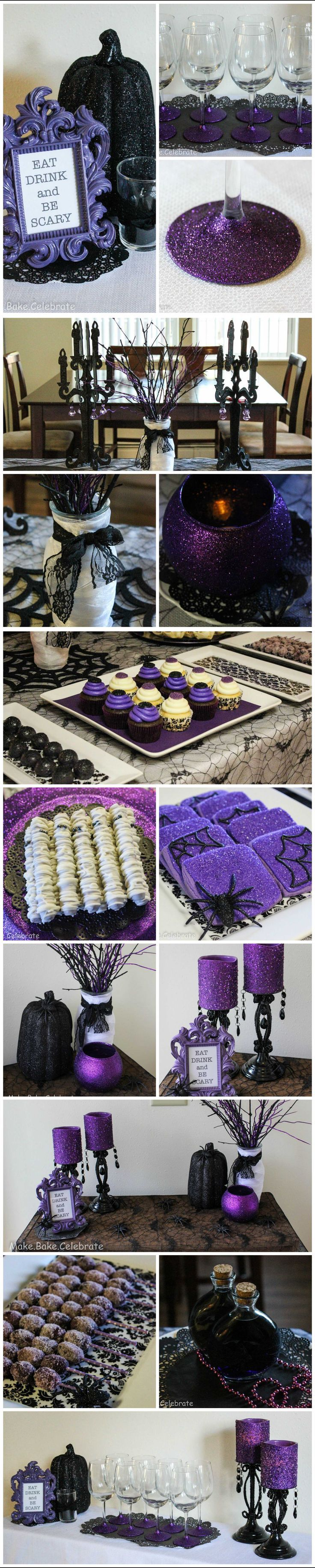 DIY: Purple & Black, Glitter & Glam Halloween party ideas. Your Halloween Fashionista Party needn't break the bank to be fabulous!