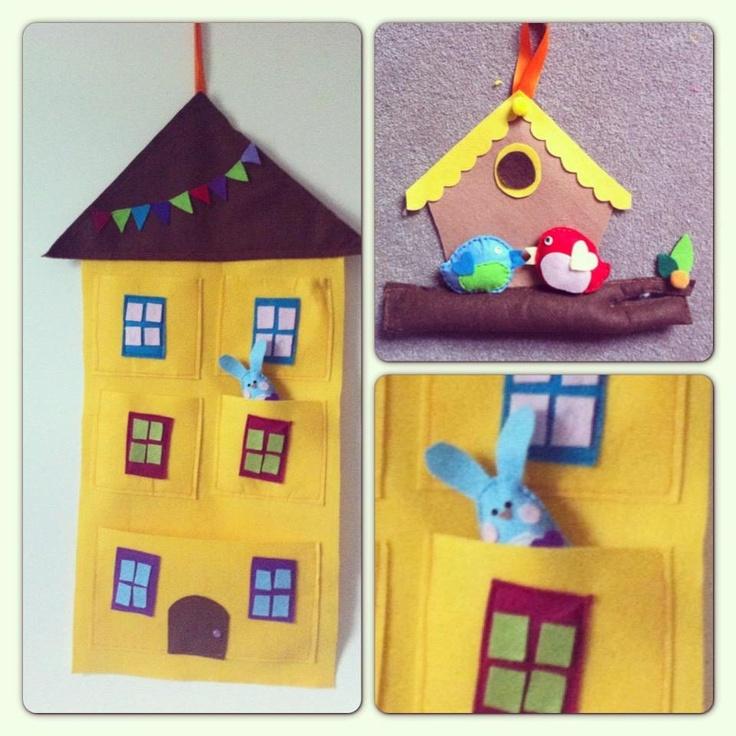 Cute felt organizer and door hanger & 289 best Felt gifts images on Pinterest | Felt fabric Feltro and ...