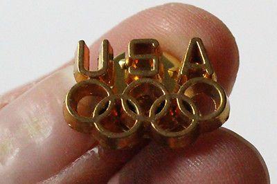 """USA OLYMPIC EMBLEM METAL PIN souvenir keepsake Olympic Circle """"gold"""" pin"""