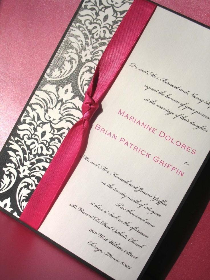 tie the knot wedding invitations etsy%0A Wedding Invitations  Damask Print Wedding Invitations in Pink and Black          via Etsy    The KnotInvitation