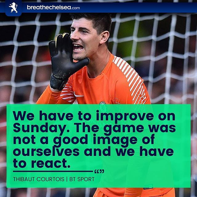 Thibaut Courtois believes Chelsea embarassed themselves last night and must bounce back with a win against Manchester United. Come on you Blues! 🔥🔵 ・・・ #BreatheChelsea #CFC #ChelseaFC #CFCFamily #KTBFFH #Carefree #PremierLeague #EPL #ChampionsLeague #CL #UEFA