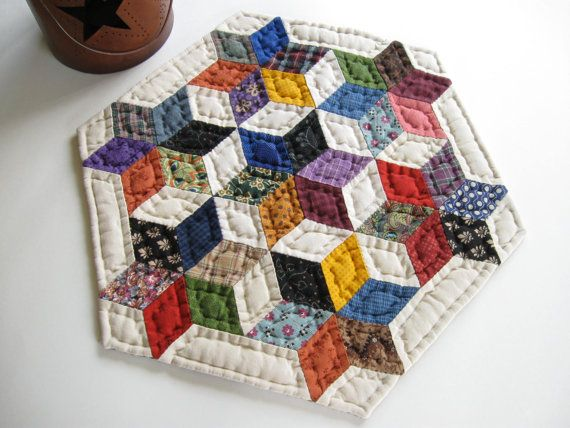 Seven Sisters Quilted Table Topper Quilt Table Mat Quilted Candle Mat Rustic Home Decor Farmhouse Decor Primitives Country Decor Colorful