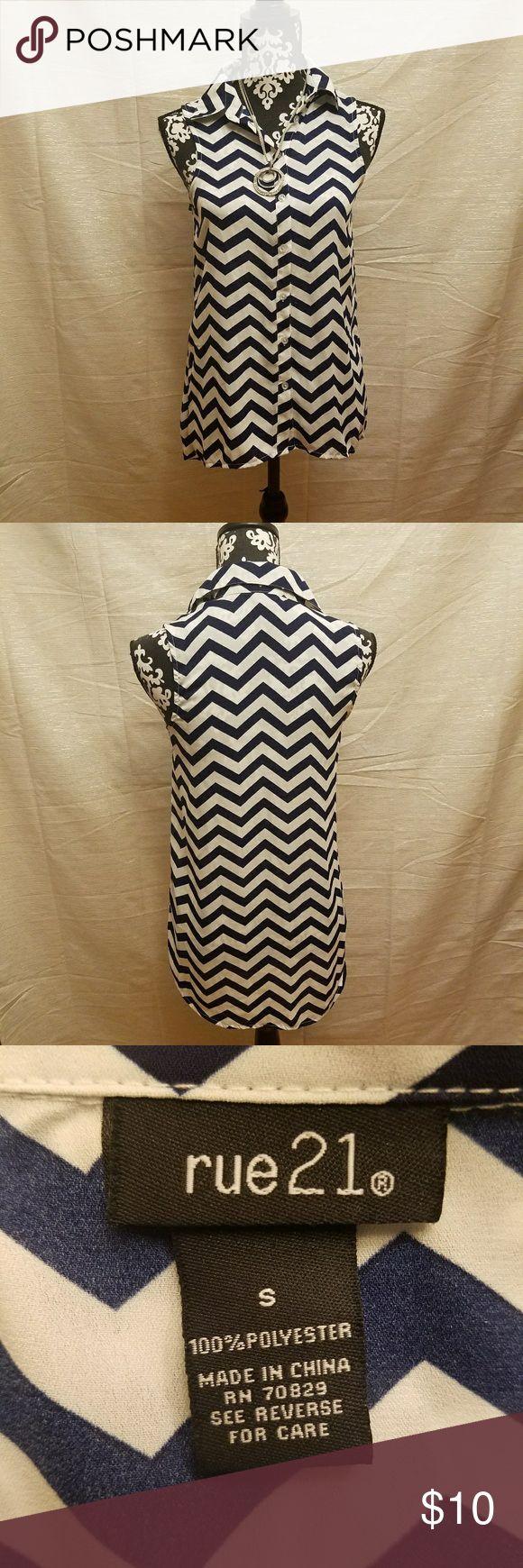 Woman sleeveless dress shirt Nice woman sleeveless dress shirt Rue 21 size s Rue 21 Tops