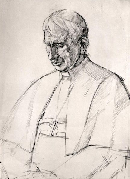 Portrait drawing, a study for the portrait of Cardinal Basil Hume for the National Portrait Gallery by Jeff Stultiens