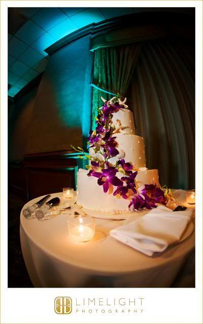 Marco Beach Ocean Resort, wedding cake, purple flowers, details, reception, Wedding, Limelight Photography www.stepintothelimelight.com