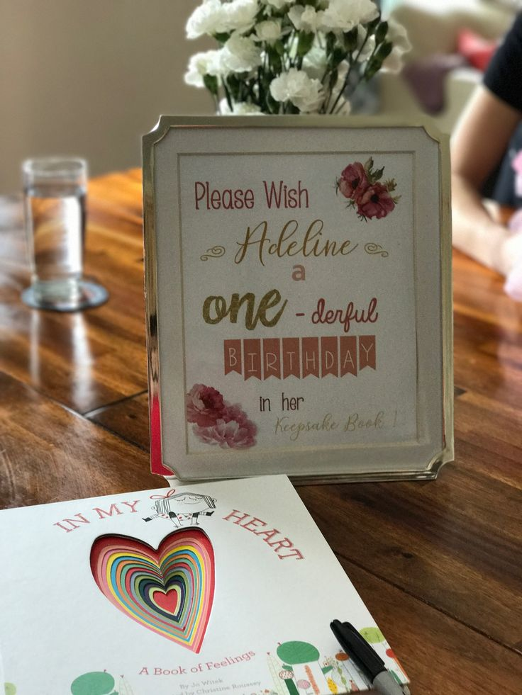 Little Girl First Birthday Keepsake Book And Diy Sign Friends And Family Can Leave Notes