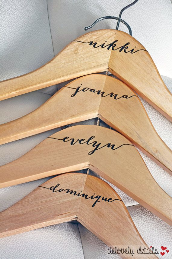 4 - Personalized Bridesmaid Hangers - Engraved Wood