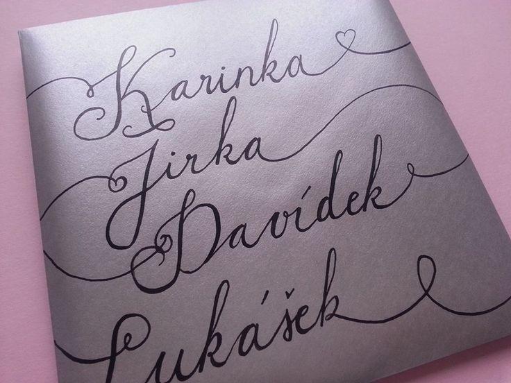 Envelope for wedding invitation. Handwritten.