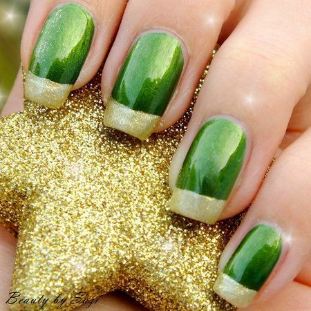 Green & Gold #green #gold  #nails #nailart #nailpolish #naillacquer #polishaddict - bellashoot.com #partynails #holidaynails