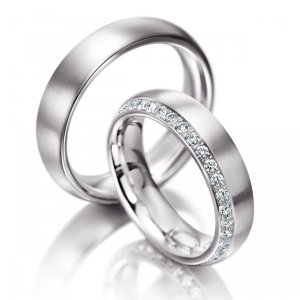 couple wedding band with diamond available in gold palladium platinum - Couples Wedding Rings