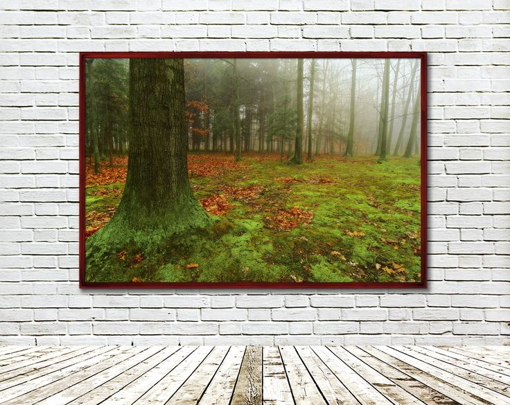 Forest on a brick wall.