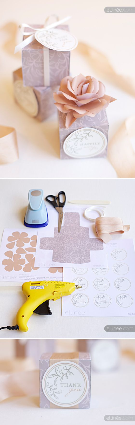 free templates for a patterned gift box a rose topper and lovely round tags from Ellinée http://www.ellinee.com/blog/freebie-friday-diy-wedding-favor-box-tags/