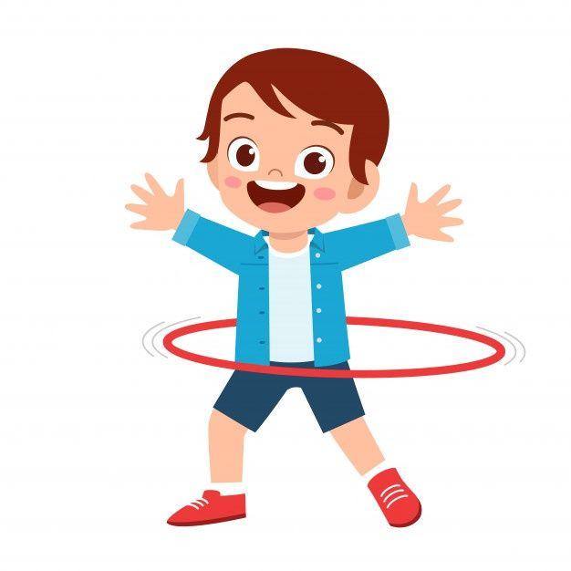 Happy Cute Little Kid Boy Play Hula Hoop Cute Kids Kids Clipart Boys Playing