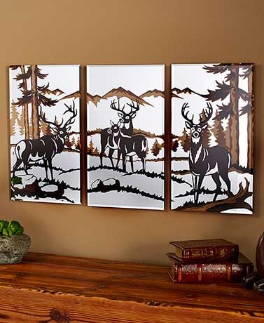 This 3-Pc. Wildlife Mirrors set looks great hung together or spread apart across a room. #Deer #Wildlife #Mirror