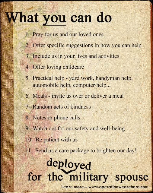 CARING INSIGHTS - Top ten suggestions in caring for the military home front - deployed military spouse. www.operationwearehere.com