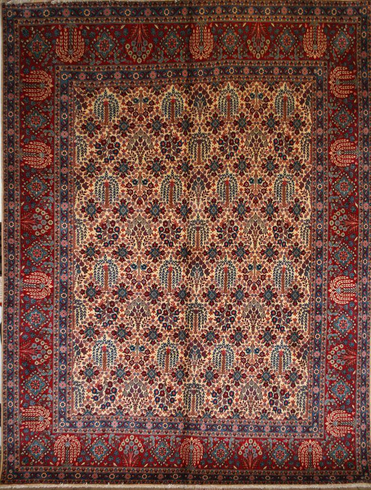 Rug Origin:Iran (Persian) Name:Yazd Length:3.95 m (12′ 12″) Width:2.95 m (9′ 8″)