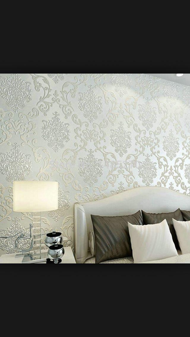 Best Elegant Silver Foil Demask Wallpaper Behind Bed Head 400 x 300
