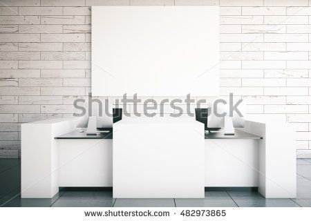 Modern white reception desk with two computer monitors and blank billboard in room with wooden wall and tile floor. Mock up, 3D Rendering