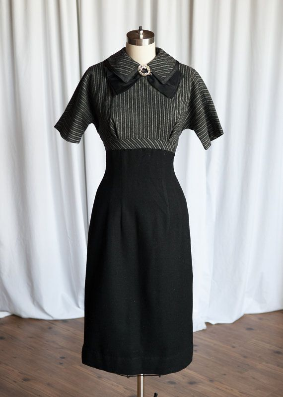 Big Ben By Night dress | vintage 50s dress | grey striped bodice wiggle dress | vintage 1960s fitted wool dress | black / gray vintage dress