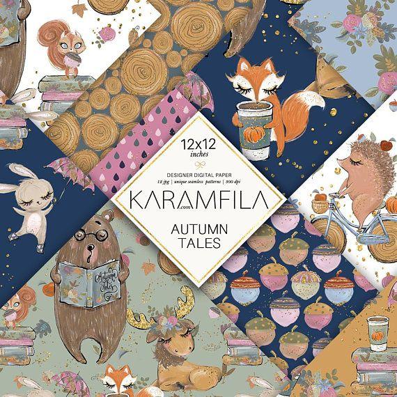 Thanksgiving Digital Paper Karamfila/'s Thanksgiving Custom Fabrics. Fall Planner Stickers Autumn Seamless Patterns Fall Digital Paper