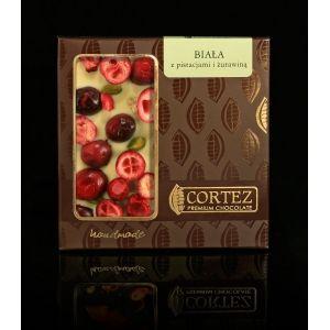 Czekolada Cortez z pistacjami i żurawiną  #white #czekolada #cortez #chocolate #cranberries #pistacje #maliny #pistachio