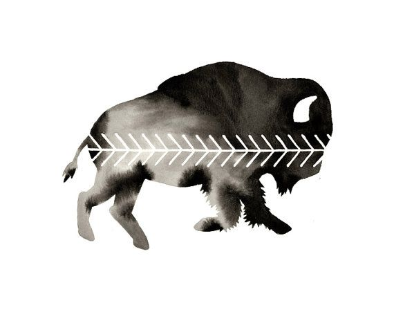 Original Watercolor . Chevron Buffalo . Geometric Art . Graphic Black and White Art . Bison Art