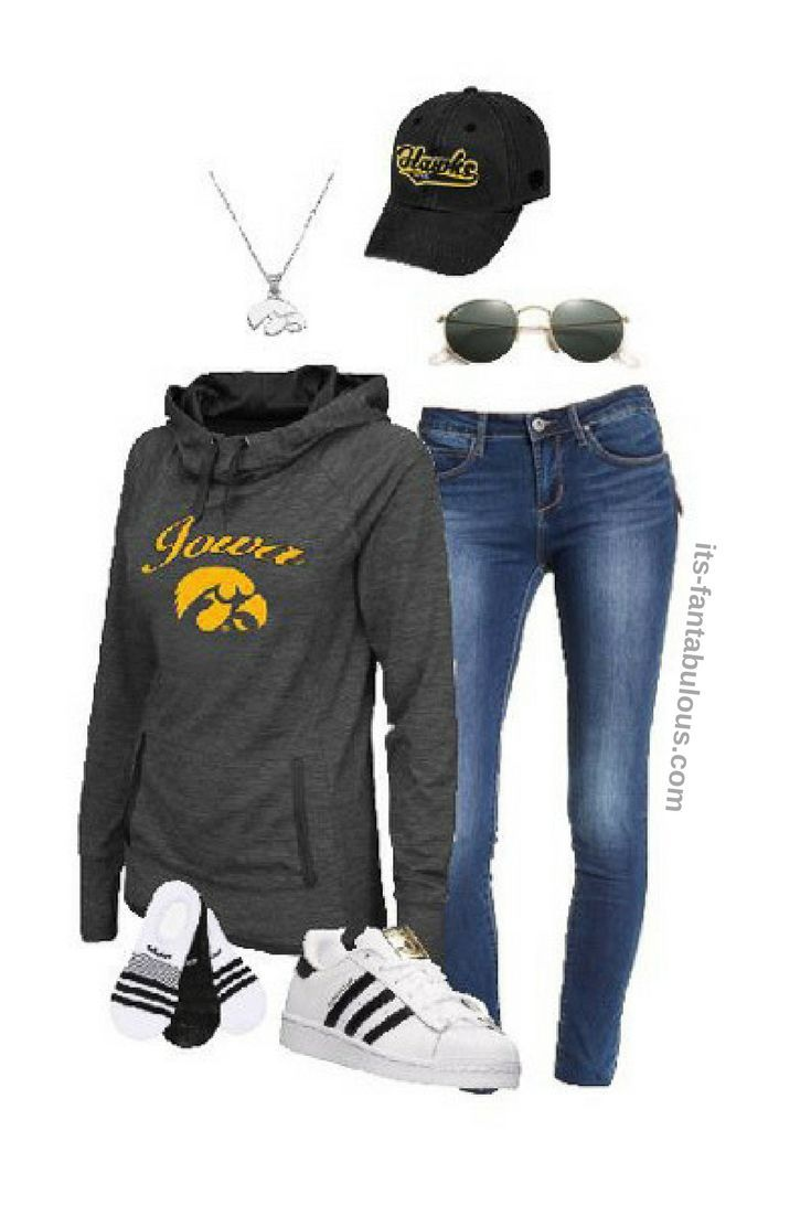 The perfect football outfit for tailgating at a Iowa Hawkeye game.