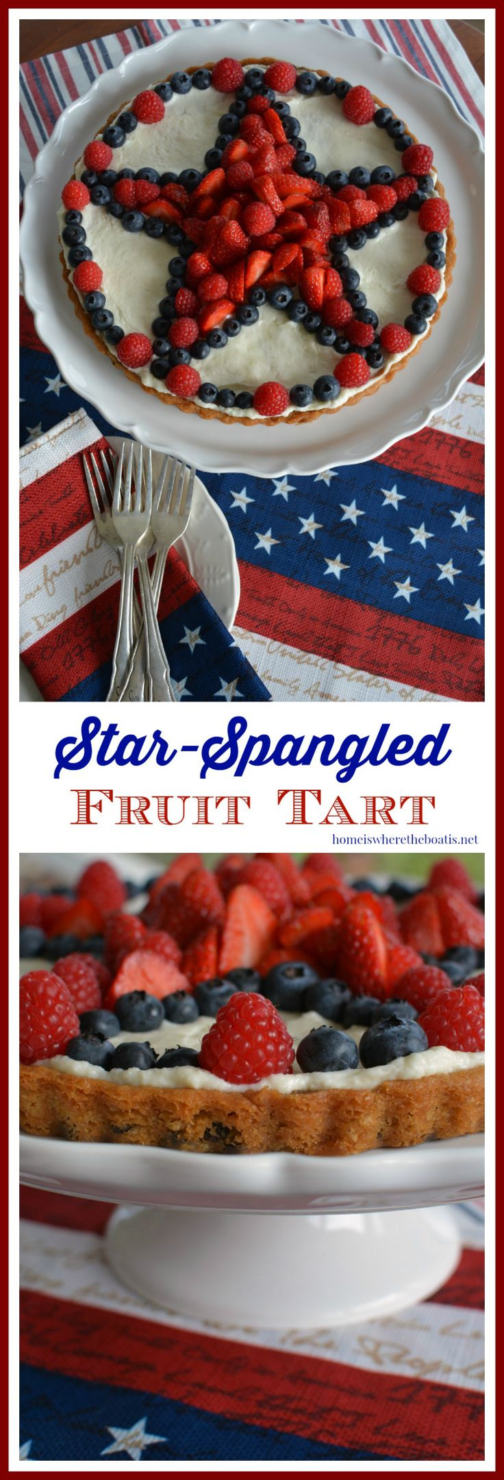 Star-Spangled Fruit Tart with a chocolate chip cookie dough crust! | homeiswheretheboatis.net #patriotic #dessert
