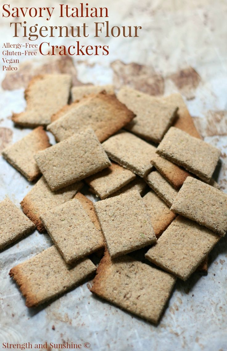 A healthy and delicious grain-free snack! Savory Italian Tigernut Flour Crackers, easy and homemade, gluten-free, vegan, paleo, and allergy-free!
