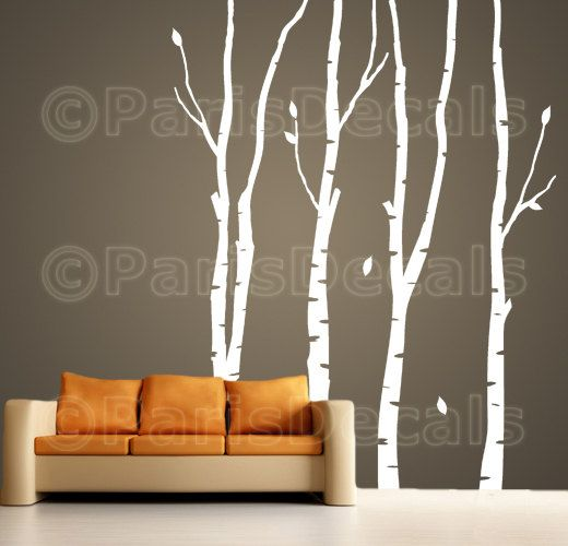 BIRCH TREES Vinyl Wall Decal Sticker, Nature, Self-Adhesive, Multiple Colors (Product Code: T102 Birch)