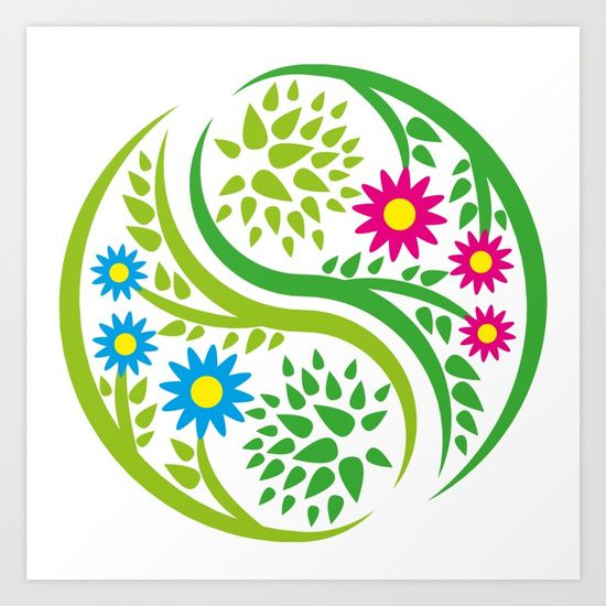 Yin Yang Flower Art Print