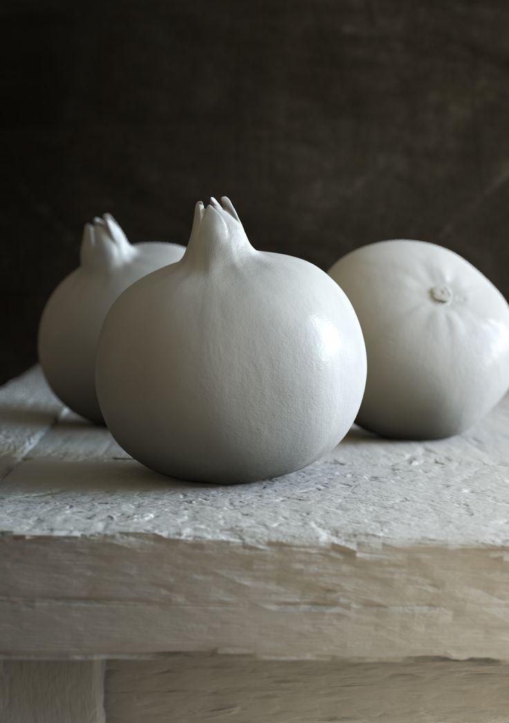 Pomegranates Clay Render, C4D, CGI, 3D. Scan - https://www.blankrepository.com/