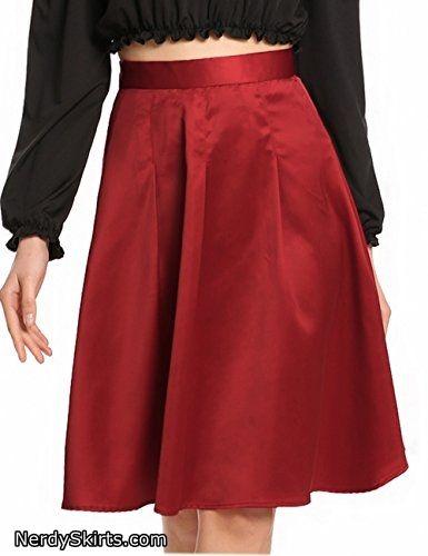 fe487addd8 Zeagoo Women's Elegant High Waisted Solid Knee Length Flare Skater A Line  Skirts