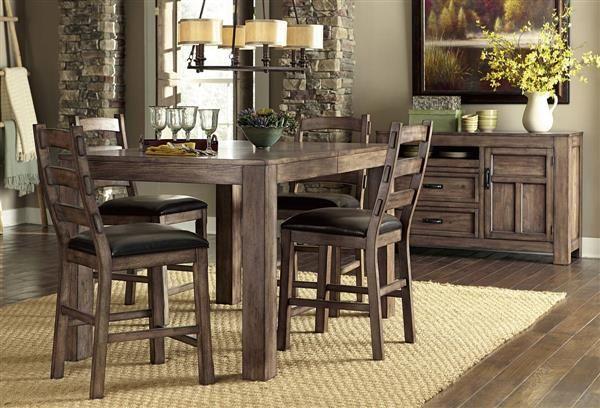 Boulder Creek Transitional Pecan Wood Counter Dining Table