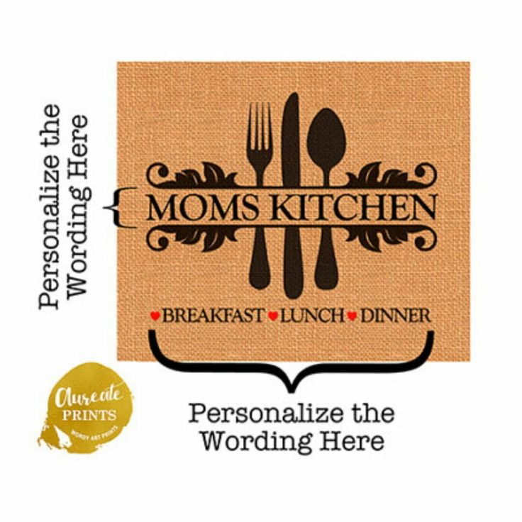 Personalized KITCHEN PRINT, Spoon Fork Knife on Charming Burlap
