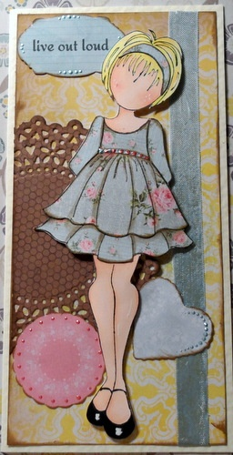 Paper ink and Glue: Prima Doll Stamps. We did theses at ScrapFest. We cut two dresses and layered the bottom skirt portion plus added bling at the waist and ruffled edge. They were simply gorgeous.