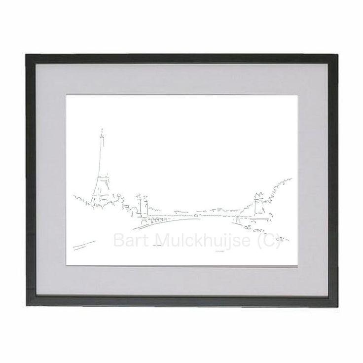 Originele tekening van Parijs - Eiffeltoren - Alexandre III brug door LeidseLijnen op Etsy