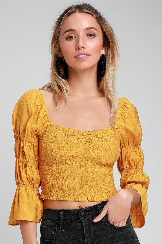 9806fa7a644bad Savia Mustard Yellow Smocked Puff Sleeve Crop Top in 2019 | Style ...