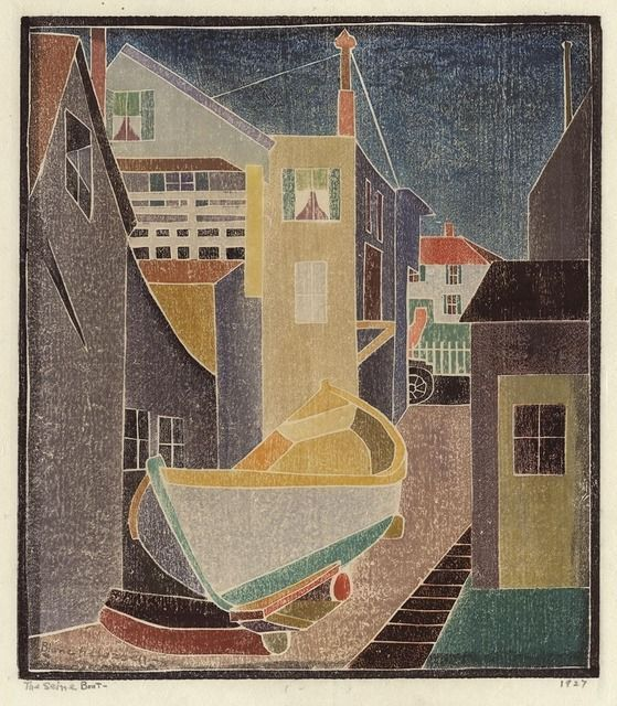 Blanche Lazzell | White line woodcut The Seine Boat. (1927)