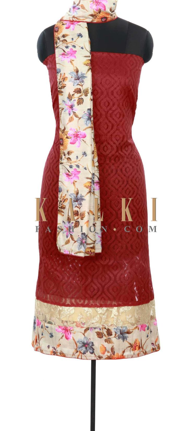 Buy Online from the link below. We ship worldwide (Free Shipping over US$100) Price- $49 Click Anywhere to Tag http://www.kalkifashion.com/blood-red-unstitched-suit-enhanced-in-print-and-sequin-only-on-kalki.html